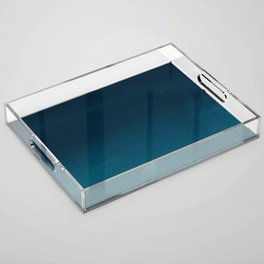 Navy blue teal hand painted watercolor paint ombre Acrylic Tray