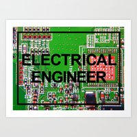 engineer Art Prints featuring Electrical Engineer by EEShirts