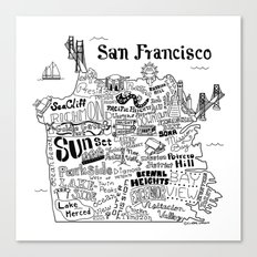 San Francisco Map Illustration Canvas Print
