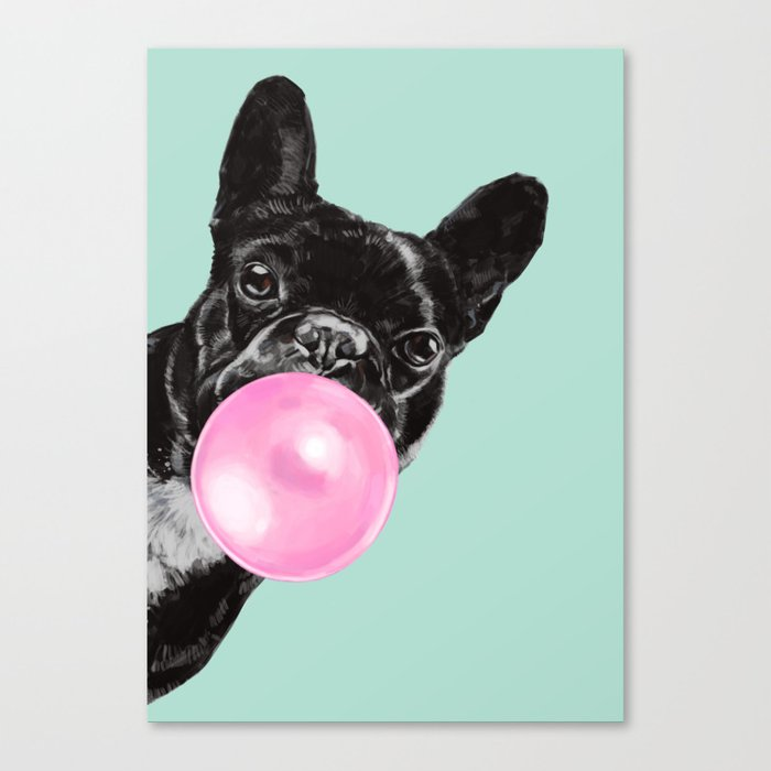 Bubble Gum Sneaky French Bulldog in Green Leinwanddruck