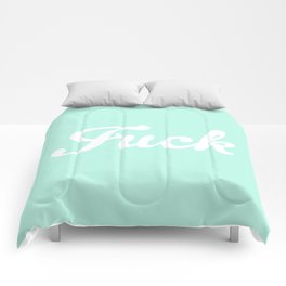 Vintage Pastel Mint Fuck Boho Hipster Typography Comforters
