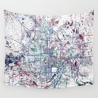 minneapolis Wall Tapestries featuring Minneapolis map by MapMapMaps.Watercolors
