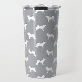 Akita silhouette dog breed pattern minimal dog art grey and white akitas Travel Mug