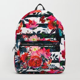 Magenta pink fuchsia black white watercolor floral stripes Backpack
