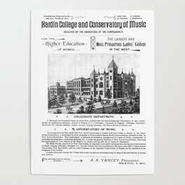Hardin College & Conservatory of Music in Mexico, Missouri, 1892 Poster Poster