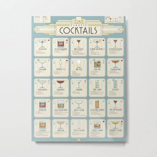 Art Deco Cocktail Recipe Poster Metal Print