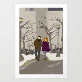 Snowy Stroll Art Print