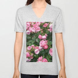 Botanical organic bright pink green nature roses flowers photo Unisex V-Neck