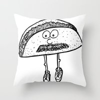 taco Throw Pillows featuring Taco by Addison Karl