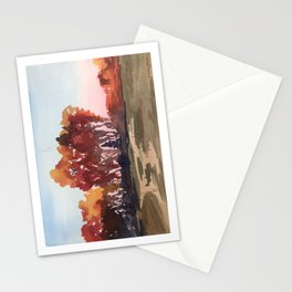 Watercolor - Minnesota Autumn Trees in Oranges and Reds - Susanne Johnson Art Stationery Cards