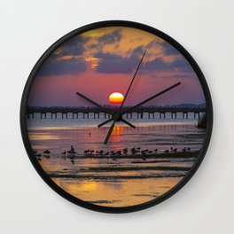 Sunset on the Sound Side Wall Clock