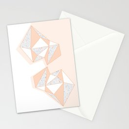Geometric Nude Color Terrazzo Abstract Design Stationery Cards