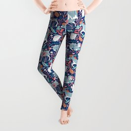 Spring Joy // navy blue background pale blue lambs and donkeys coral and teal garden Leggings