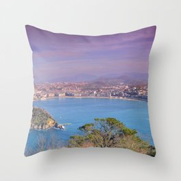 La Concha Bay seen from Igeldo Mount. Throw Pillow