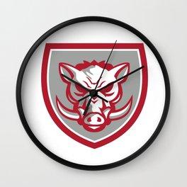 Wild Boar Razorback Head Angry Shield Retro Wall Clock