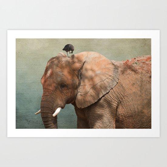 Brotherly- elephant and owl Art Print
