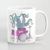 drums Mugs featuring Octopus Playing Drums - Blue by Ornaart