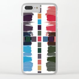 Bold brushstrokes with mosaic stripes Clear iPhone Case