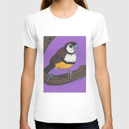 Owl Finch on Branch with Purple Sky, colored pencil, 2010 T-shirt