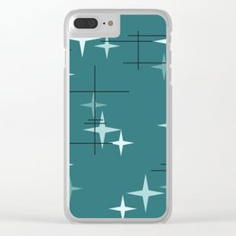 Mid Century Modern Stars (Ocean Green) Clear iPhone Case