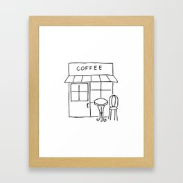 Little Coffee House // Cafe Sketch Framed Art Print