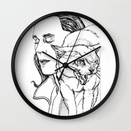 Angry Cat - Loki Black and White Series Wall Clock