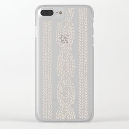 Cable Knit Grey Clear iPhone Case
