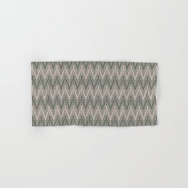 Moody Green Neutral Beige Chevron Ripple Pattern 2021 Color of the Year Contemplative and Stucco Hand & Bath Towel