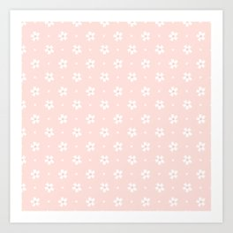 Vintage pastel coral white abstract floral pattern Art Print