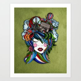 Paris girl in green Art Print