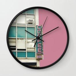 Aqua and Pink New York Coffee Shop Wall Clock