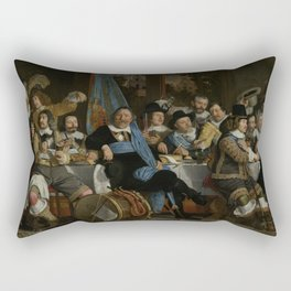 Bartholomeus Van Der Helst - Banquet At The Crossbowmen s Guild In Celebration Of The Treaty Of Muns Rectangular Pillow