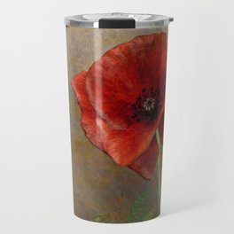 Poppy Resistance - Flowers... make everything nicer! Hand-drawn illustration, grunge texture Travel Mug