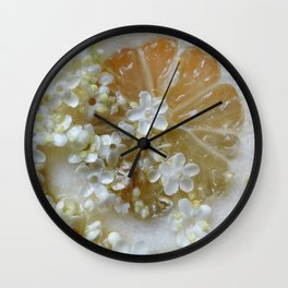 Lemon and elderflower Wall Clock