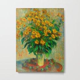Claude Monet Impressionist Floral Oil Painting Jerusalem Artichoke Flowers, 1880 Metal Print