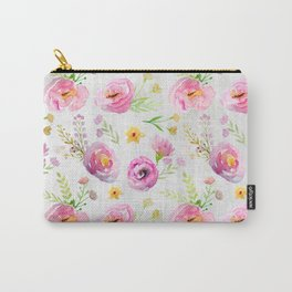 Delicate Poppy Pattern On White Background Carry-All Pouch