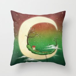 fantasy moon and house and cherry tree Throw Pillow