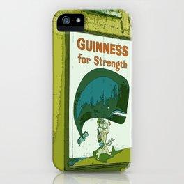 Guinness beer art print - 'Guinness for strength' vintage sign in green - vintage beer poster iPhone Case