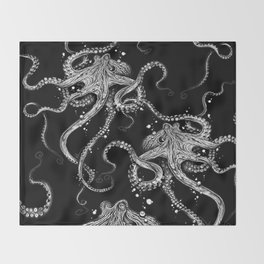 Octopus (black) Throw Blanket