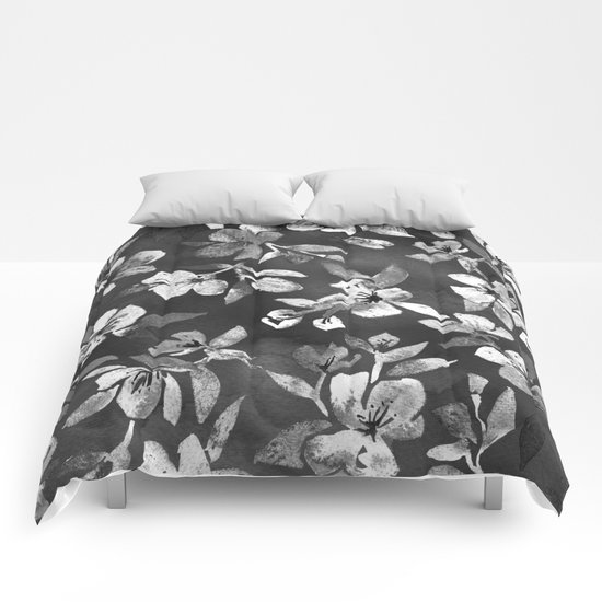 Blossoms on Charcoal Ink Comforters