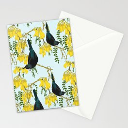 Tuis in the Kowhai Flowers Stationery Cards