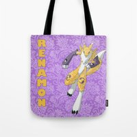 digimon Tote Bags featuring Renamon by Mischievie