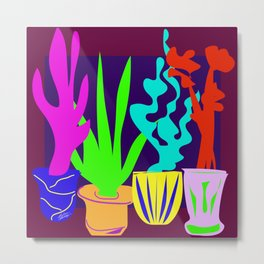 Simple Shapes of Cactus in Pots Colorful Digital Drawing Metal Print