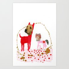 Cat and Dog  Art Print