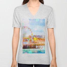 Santa Monica pier, California, USA with colorful bokeh abstract Unisex V-Neck