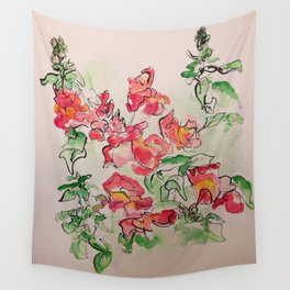 Blind Contour Snapdragon Wall Tapestry
