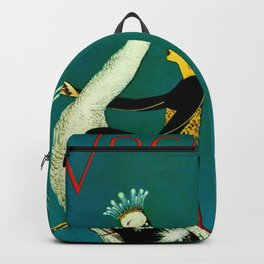 Vintage 1920's Jazz Age Flapper with White Peacock Fashion Poster Backpack