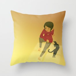 Quiet Moments with Kitty Throw Pillow