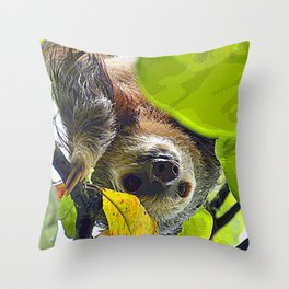AnimalPaint_Sloth_20171201_by_JAMColors Throw Pillow