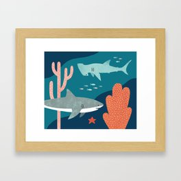 Silly Sharks Framed Art Print